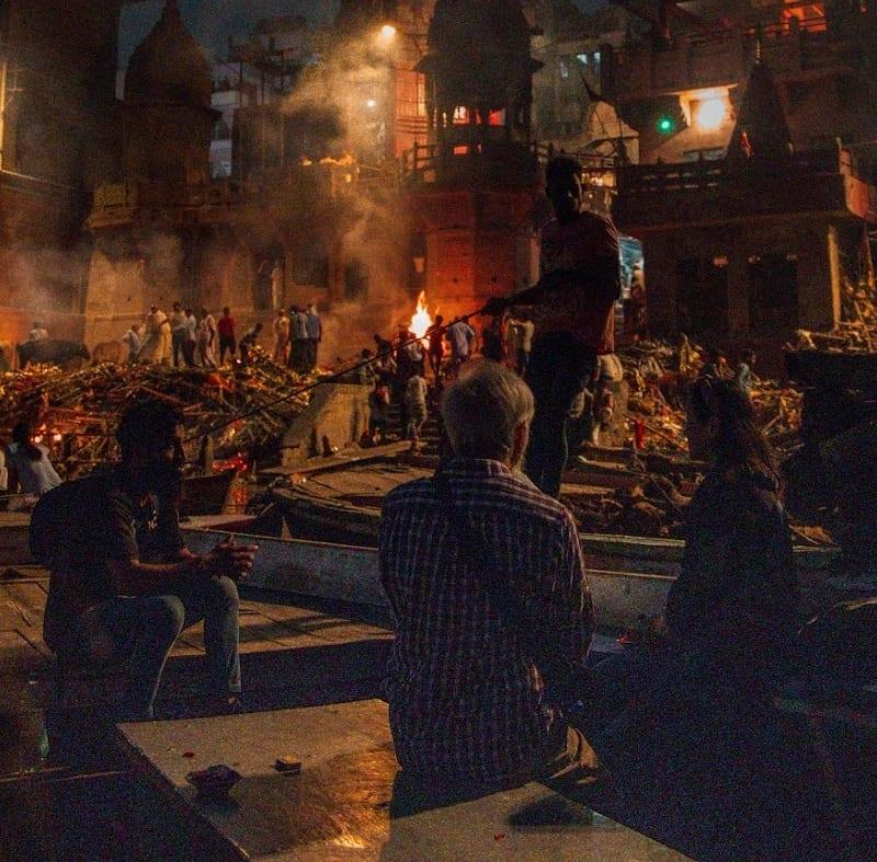 Tour group at Varanasi ceremony