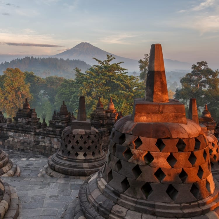 Backpacking group exploring Java's temples