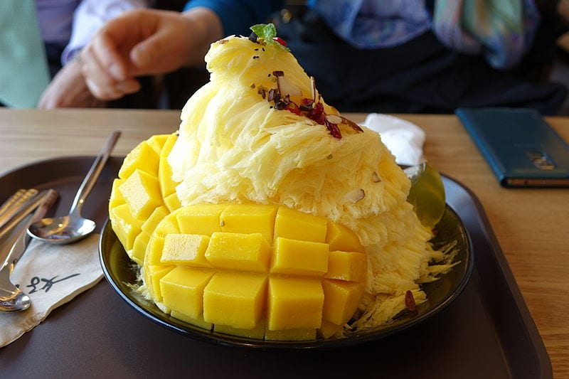 mango bingsu korean food