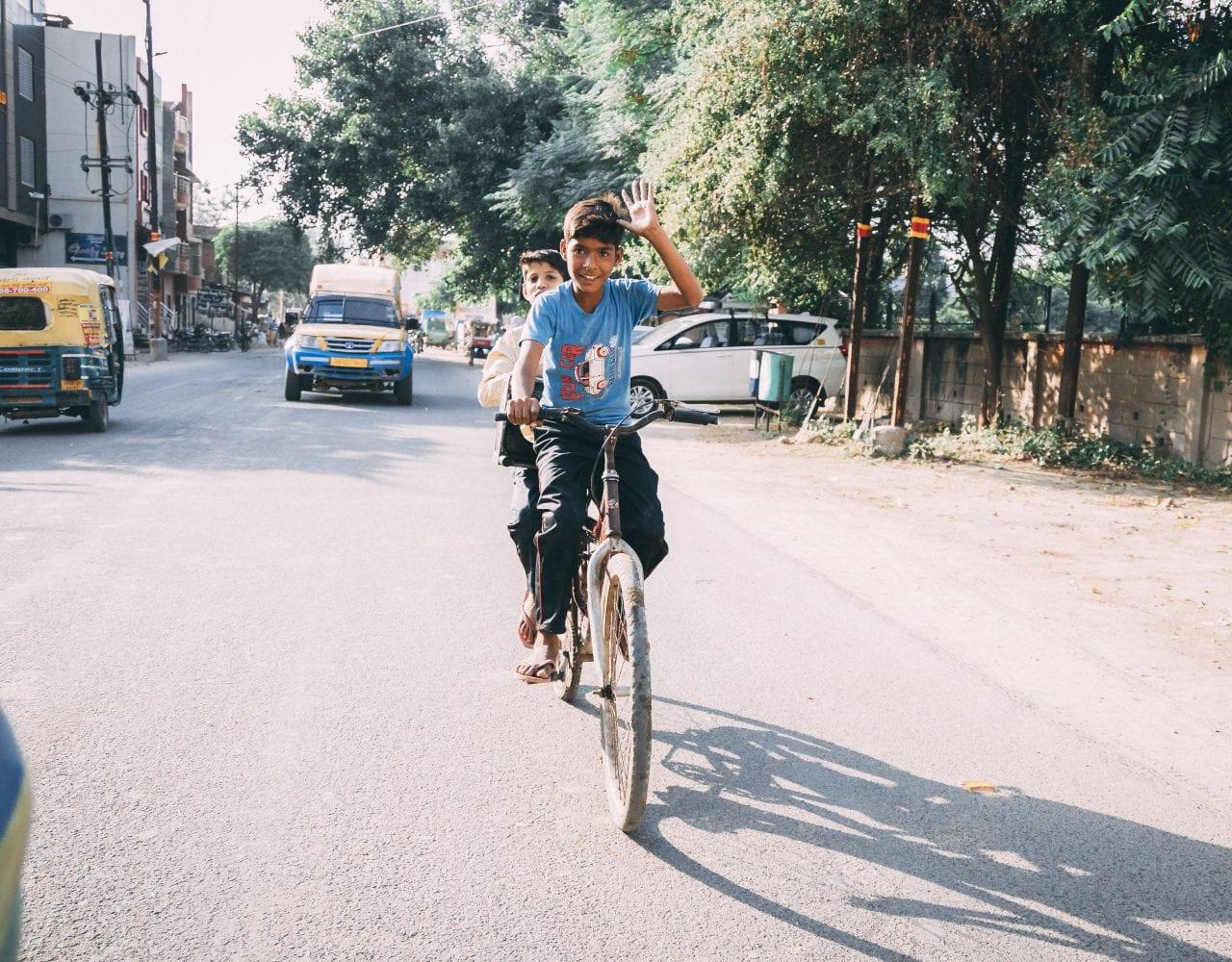 Kids on a bike in Delhi