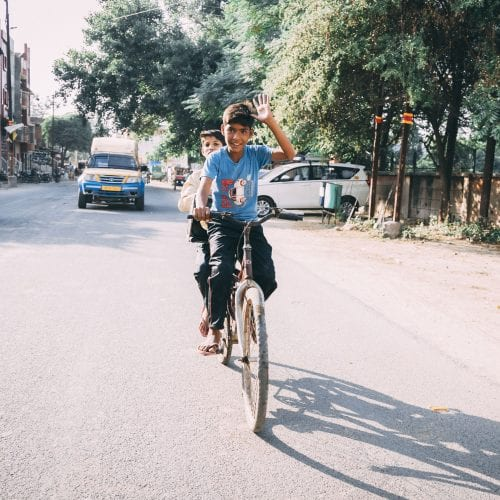Kids on a bike in Delhi