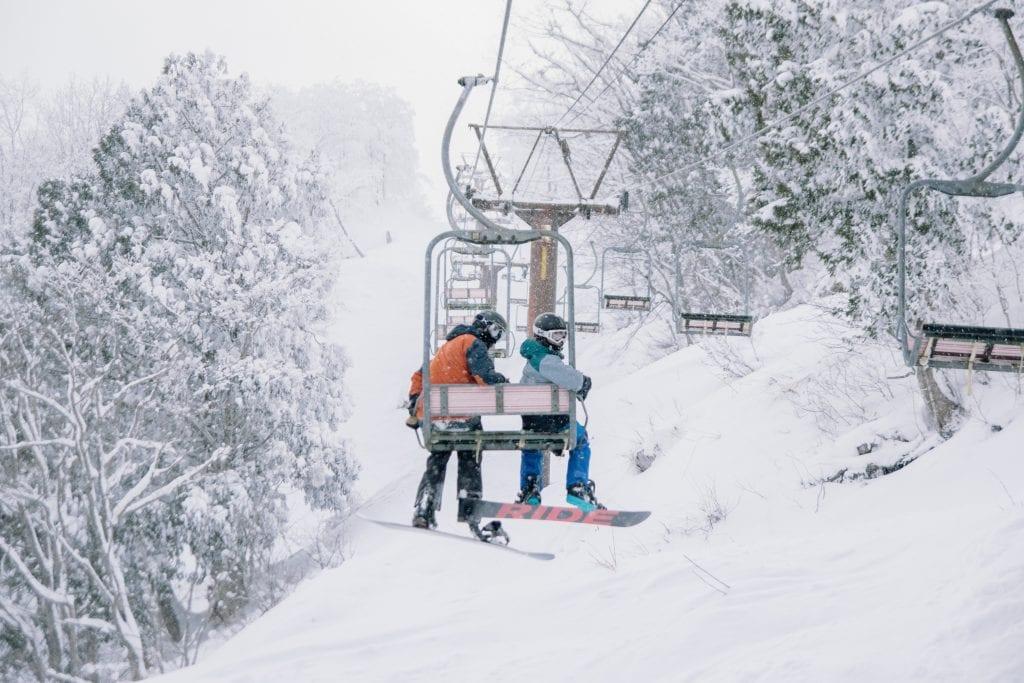 Japan ski lift in winter