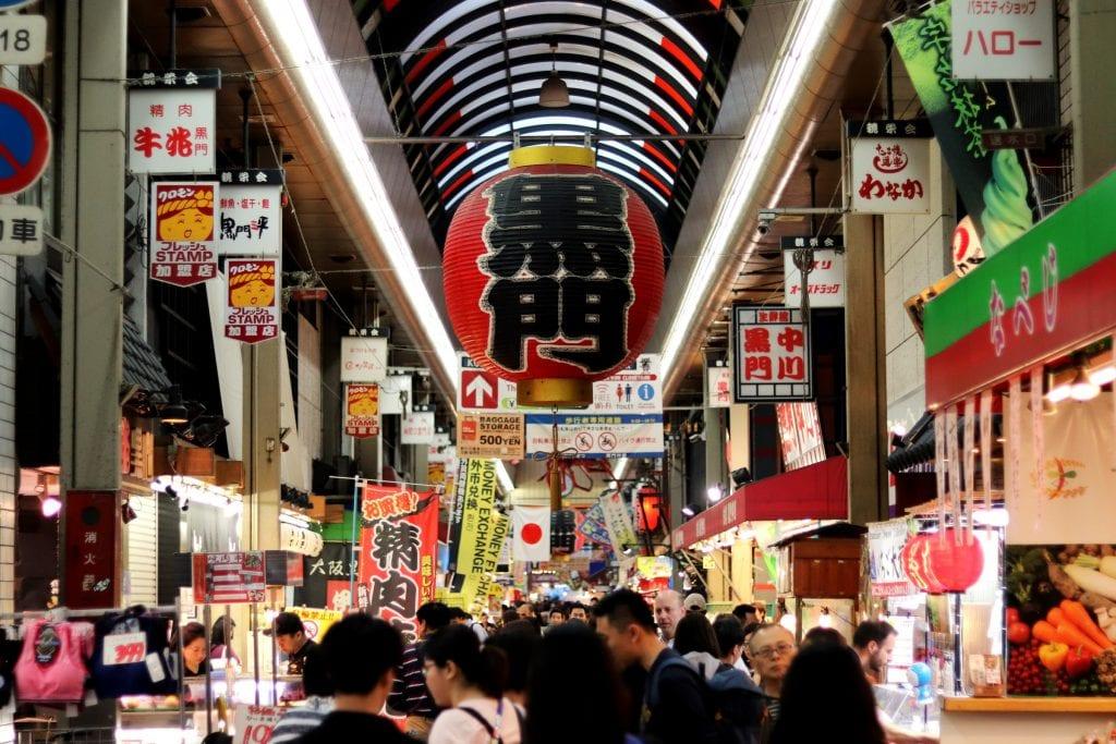 Kuromon market in Osaka