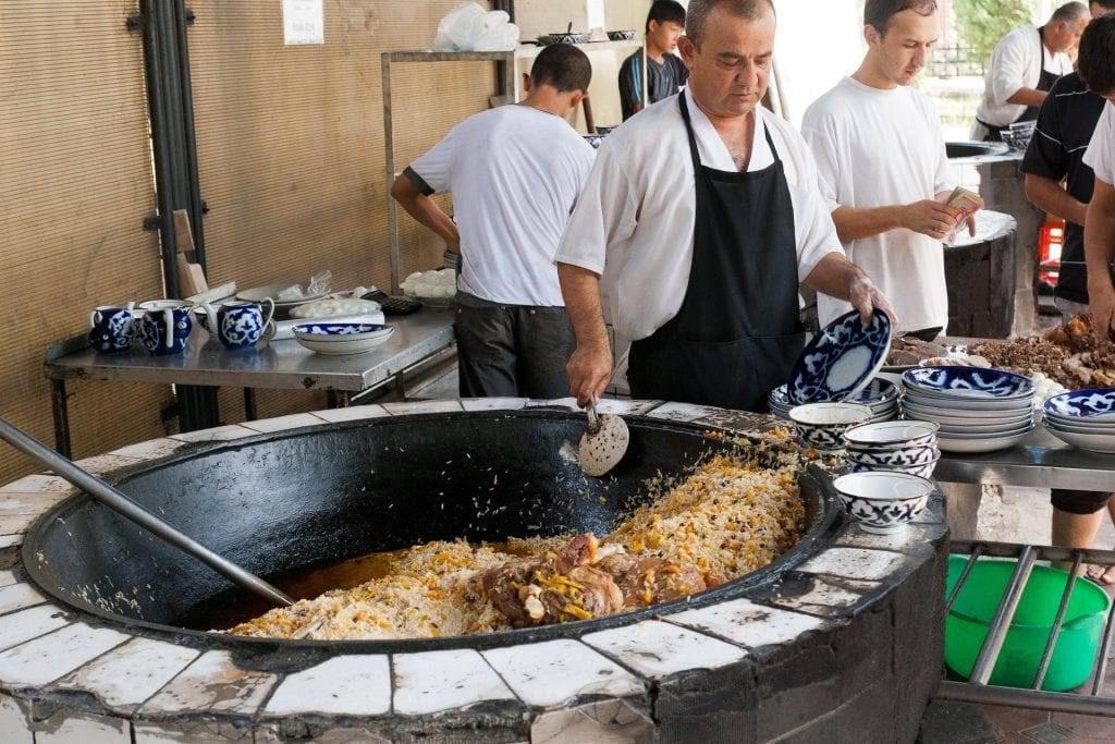 Food being served in Uzbekistan