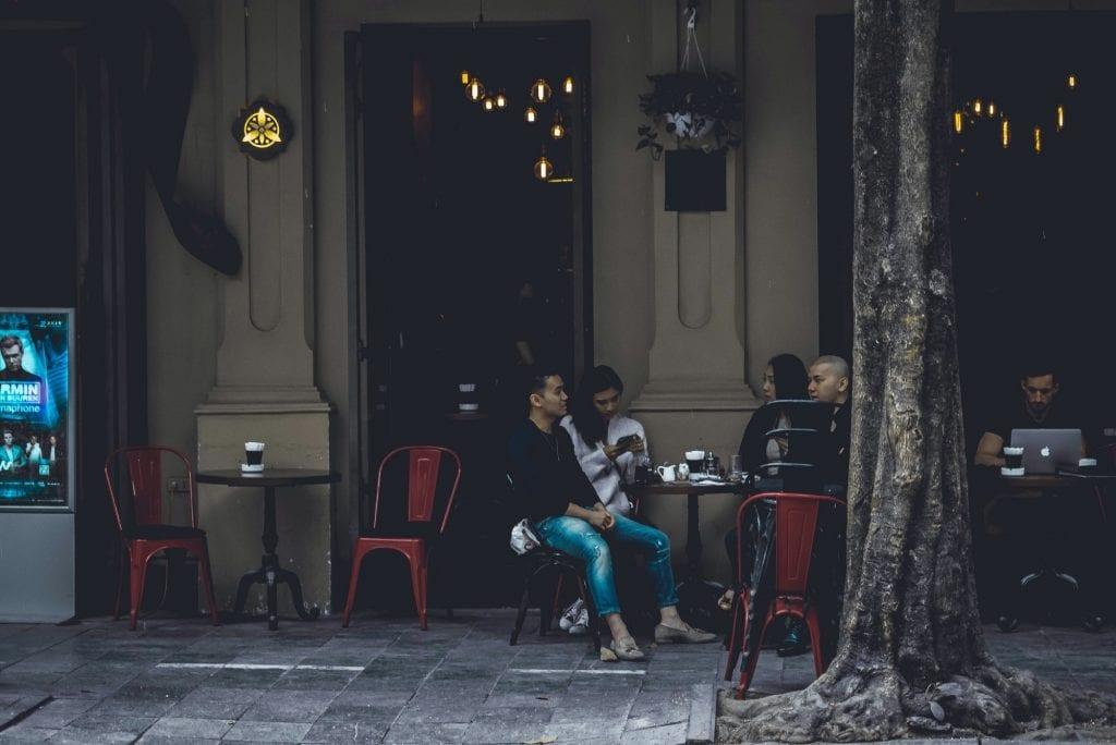 People drinking coffee in Hanoi